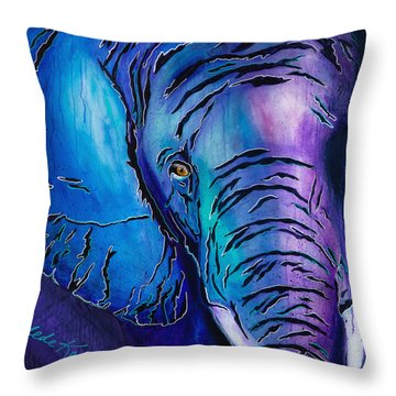 Purple Elephant Throw Pillow