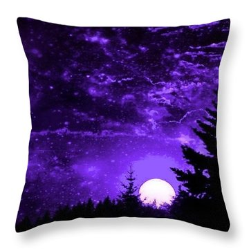 Purple Fantasy Sunset Throw Pillow