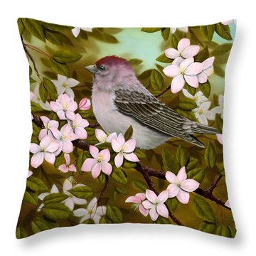 Purple Finch Throw Pillow by Rick Bainbridge