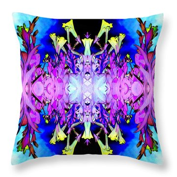 Purple Flower Abstract Throw Pillow by Marianne Dow