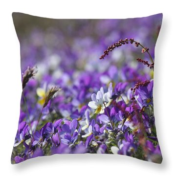 Purple Flower Bed Throw Pillow