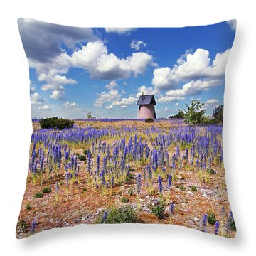 Purple Flower Countryside Throw Pillow