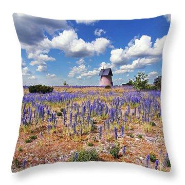 Purple Flower Countryside Throw Pillow
