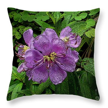 Purple Flower Throw Pillow by Sergey Lukashin