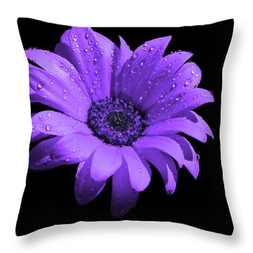 Purple Flower With Rain Throw Pillow by Bruce Nutting