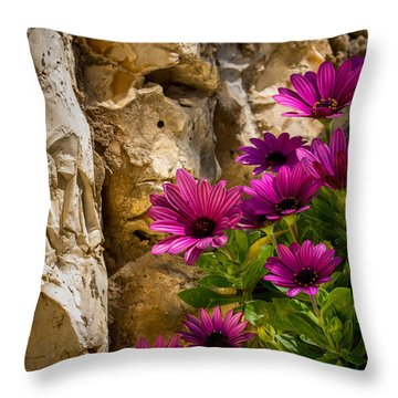 Purple Flowers And Rocks Throw Pillow
