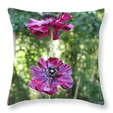 Purple Flowers Throw Pillow