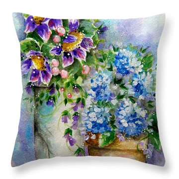 Purple Flowers Throw Pillow by Patrice Torrillo