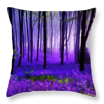 Purple Forest Throw Pillow by Bruce Nutting