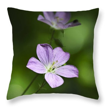 Purple Geranium Flowers Throw Pillow by Christina Rollo