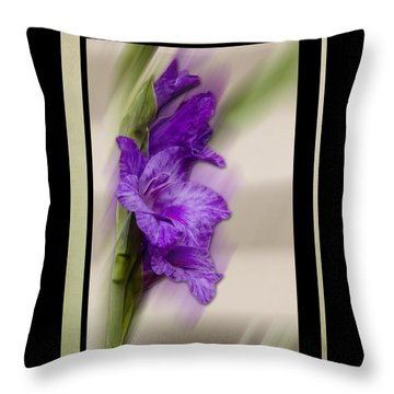 Purple Gladiolus Bloom Throw Pillow