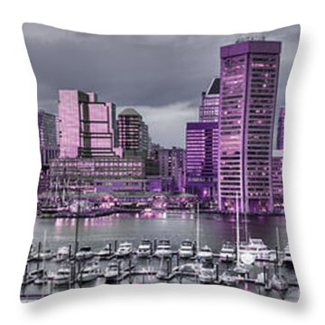Throw Pillow featuring the photograph Purple Glow On Charm City by Dennis Dame
