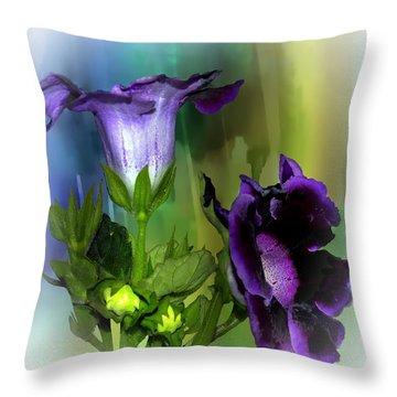 Purple Gloxinia II Throw Pillow by Judy  Johnson