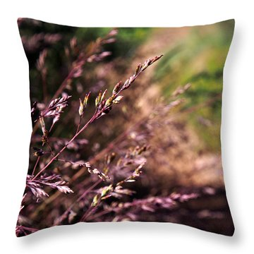 Purple Grass Throw Pillow by Kaleidoscopik Photography