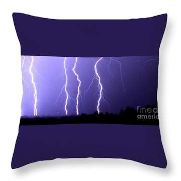 Purple Rain Lightning Throw Pillow