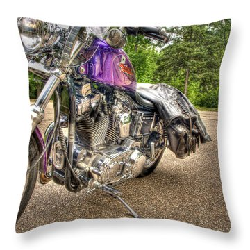 Purple Harley Throw Pillow by Thomas Young