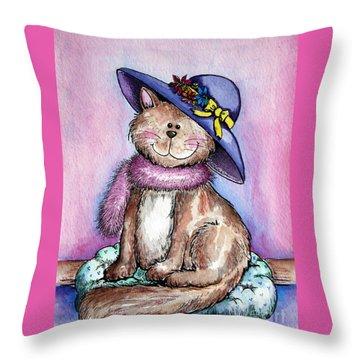 Purple Hat Cat Throw Pillow