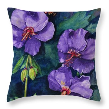 Purple Hibiscus Throw Pillow