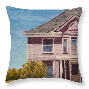 Purple House On The Prairie Throw Pillow by Alan Mager