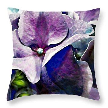 Purple Hydrangea  Flower Throw Pillow by Danielle  Parent