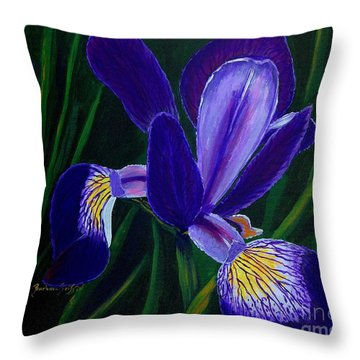 Throw Pillow featuring the painting Purple Iris by Barbara Griffin