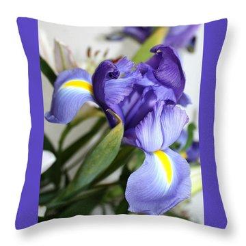 Purple Iris Throw Pillow by Ellen O'Reilly