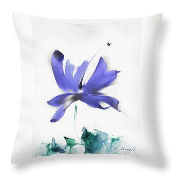 Throw Pillow featuring the mixed media Purple Iris In The Greenery by Frank Bright