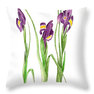 Throw Pillow featuring the painting Purple Iris  by Nan Wright
