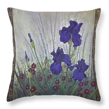 Throw Pillow featuring the painting Purple Iris by Rob Corsetti