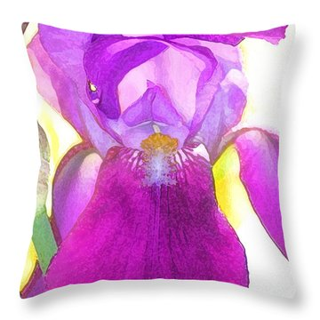 Purple Iris Watercolor Throw Pillow by Karen Adams