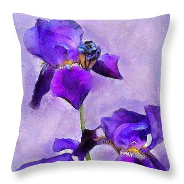 Purple Irises - Painted Throw Pillow