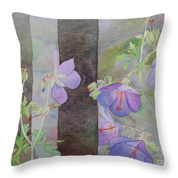Purple Ivy Geranium Throw Pillow
