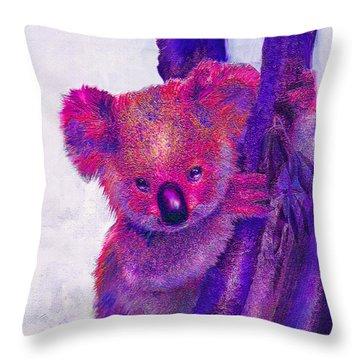 Purple Koala Throw Pillow by Jane Schnetlage