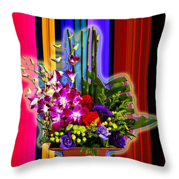 Purple Lady Flowers Throw Pillow