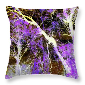 Purple Leaves And White Trees Throw Pillow