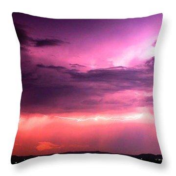 Purple Lightning Panorama Throw Pillow