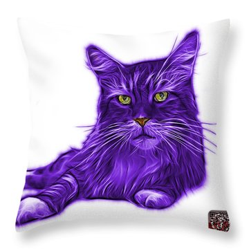 Purple Maine Coon Cat - 3926 - Wb Throw Pillow