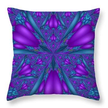 Throw Pillow featuring the digital art Purple Mixed Fractal Flower by Judi Suni Hall