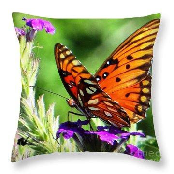 Throw Pillow featuring the photograph Purple Monach Landing by Ecinja Art Works