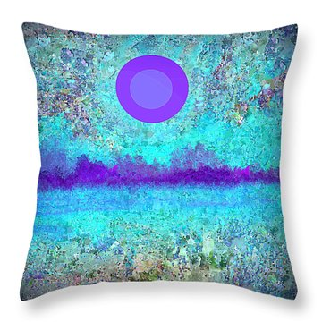 Purple Moon And Wildflowers Throw Pillow