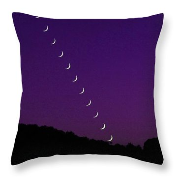 Purple Moon Setting In West Throw Pillow