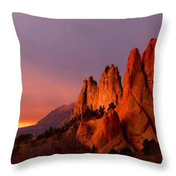 Throw Pillow featuring the photograph Purple Morning At Garden Of The Gods by Ronda Kimbrow