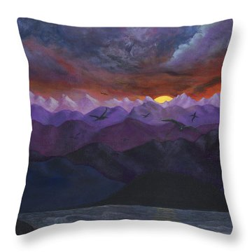 Purple Mountain Sunset Throw Pillow by Sandy Jasper