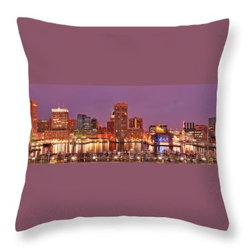 Purple Night In Baltimore Throw Pillow