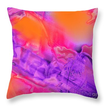 Purple Orange Pink Abstract Throw Pillow by Dee Flouton