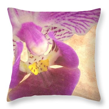 Purple Orchid 1 Throw Pillow by Rudy Umans