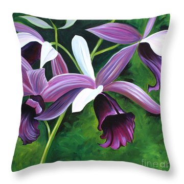Purple Orchid Throw Pillow by Debbie Hart