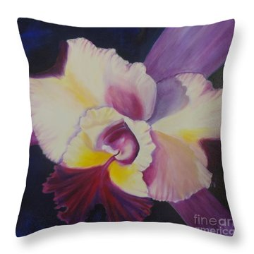 Throw Pillow featuring the painting Purple Orchid by Jenny Lee