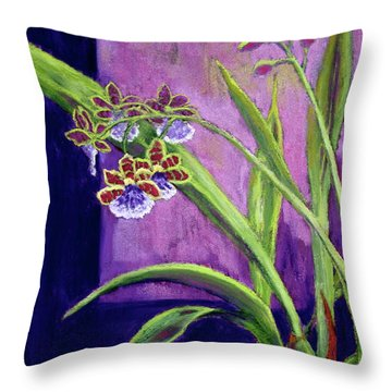 Throw Pillow featuring the painting Purple Orchids by Nancy Jolley
