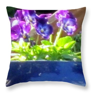 Throw Pillow featuring the photograph Purple Pansies by Cathy Long